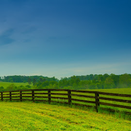 Peaceful Meadow by James Woodward - Buildings & Architecture Bridges & Suspended Structures ( sky, georgia, field, fence, meadow )