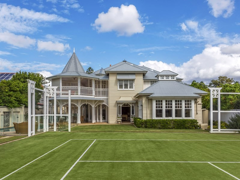 The box bay window overlooking the rear garden and tennis court.