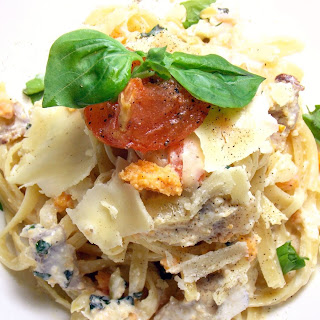 Simple Fettuccine with Salted Duck Eggs, Bacon and Tomato Confit