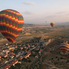 Morning rush by Moca Marius - Travel Locations Air Travel ( haze, colors, air, turkey, balloons, morning )