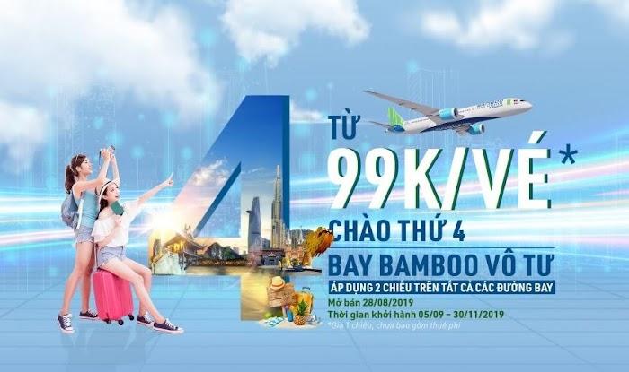 Siêu khuyến mại vé máy bay Bamboo Airways thứ 4 bay vô tư
