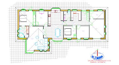 Photo: Parcelhusets indretning. Alle tegninger til byggeriet er lavet af vores arkitekt Frank Oltmann fra Esbjerg. Han stod for alt vedr. indhentning af byggetilladelsen.
