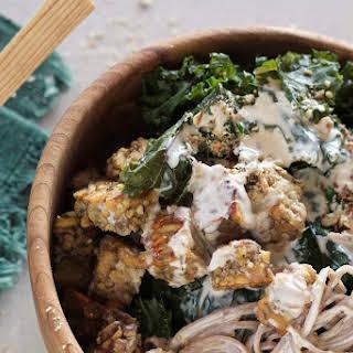 Soba Noodle and Kale Bowl with Crispy Tempeh and Tahini Sauce {vegan}.