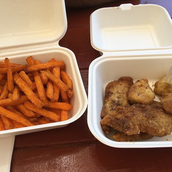 Chicken tenders and sweet potato fries