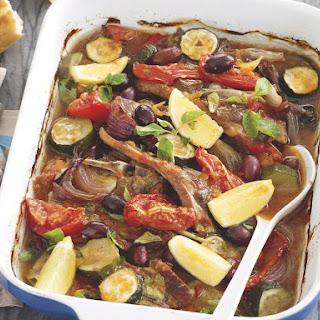 Baked Mediterranean Lamb and Zucchini.