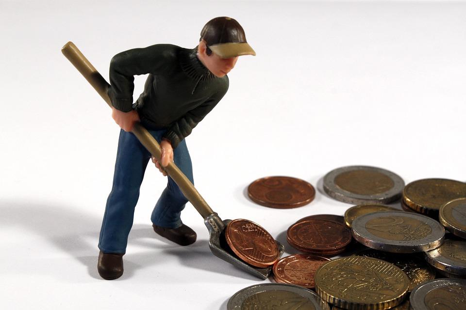 男, フィギュア, おもちゃ, 楽しみを突く, ブレード, お金, ユーロ, 通貨, 仕事, スクープ, 運搬