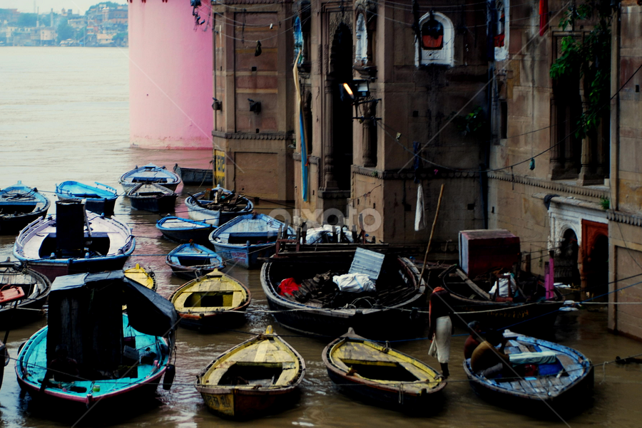 Colourful Boats by Swarup Roy Chowdhury - Landscapes Waterscapes ( candid, transportation, travel, people, river )