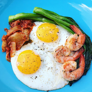 Shrimp Fried Eggs with Kimchi and Yu Choy.