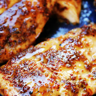 Grilled Chicken with Lemon Honey Mustard Glaze.
