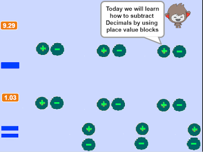 Subtracting Decimals using place value blocks- screenshot thumbnail