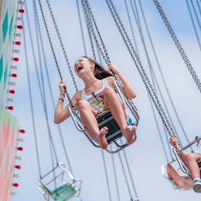 Scream by Robby Ticknor - City,  Street & Park  Amusement Parks ( chair, del mar fair, flying, scream, girl, moving, scared, fun, swing, fair, fear )