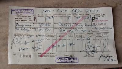 Our Cycles parcel receipt.