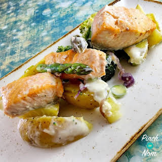 Low Syn Salmon, Broccoli and Potato Bake | Slimming World.
