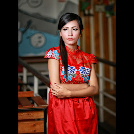 Waiting for some one by Mardi Tri Junaedi - People Portraits of Women ( #cafe, #reddress, #beautifull, #imlek, #oriental,  )