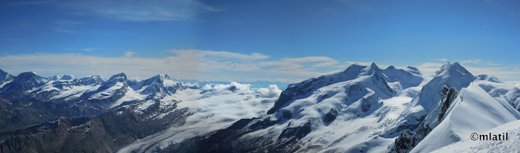 Photo: panorama from Breithorn towards Monte Rosa and Lyskamm (right)