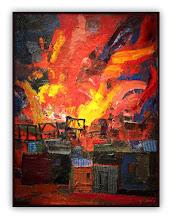 Photo: Antonio Berni Incendio en la villa 1958. 80 × 60 cm. Óleo sobre tela. Colección de Hugo y Silvia Sigman, Buenos Aires. Expo: Antonio Berni. Juanito y Ramona (MALBA 2014-2015)