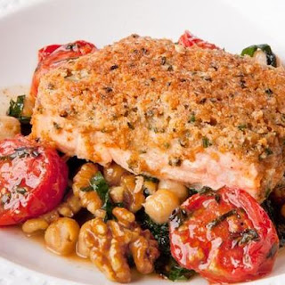 Walnut Crusted Salmon with Stewed Chickpeas and Kale.