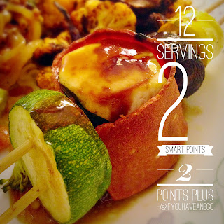 """""""Bacon"""" Wrapped Tofu Skewers (12 servings) – 2 Smart Points per serving / 2 Points Plus."""