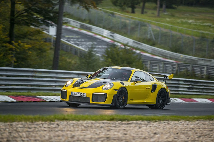 The 911 GT2 RS on the famous Nurburgring Nordschleife. Picture: PORSCHE