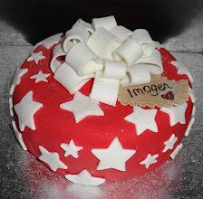 Photo: Large present cake for Imogen's naming ceremony