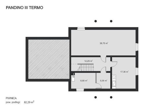 Pandino III Termo - Rzut piwnicy