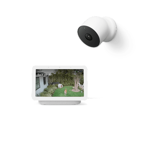 A Nest Hub with footage from outside and a Nest Cam.