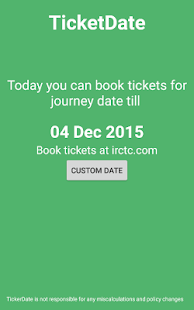 TicketDate IRCTC Date Calc- screenshot thumbnail
