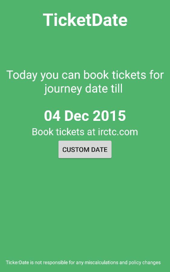 TicketDate IRCTC Date Calc- screenshot