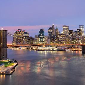 Brooklyn Bridge Purple Hour by Eric Yiskis - City,  Street & Park  Skylines ( sunset, cityscape, nyc, new york, bridge, skiline, brooklyn )