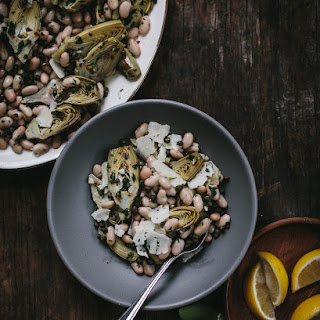 Warm Braised Baby Artichoke Salad with White Beans and Manchego Recipe