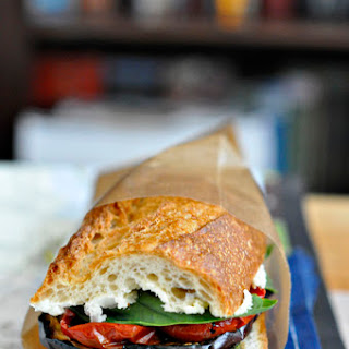 Grilled Eggplant & Zucchini Sandwich with Oven-Dried Tomatoes.