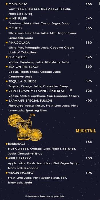 Zero Gravity Bar N Kitchen menu 5