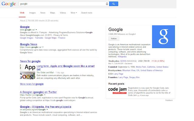 Google Search Underline