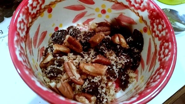 In a small bowl, mix pecans or could use walnuts, cinnamon, brown sugar and...