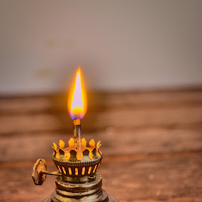 Miniature Oil Lamp by Bryant Mountjoy - Artistic Objects Antiques ( oil, miniature, fire, lamp, flame )