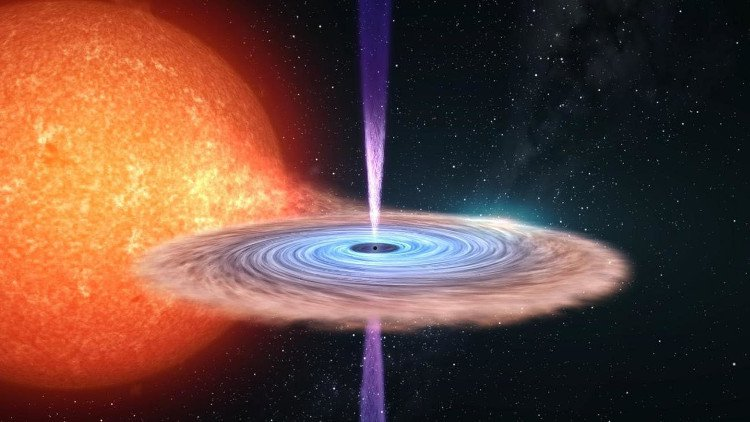 Hệ thống hố đen nhị phân V404 Cygni phun ra dòng plasma sáng chói khi nuốt một ngôi sao ở gần nó