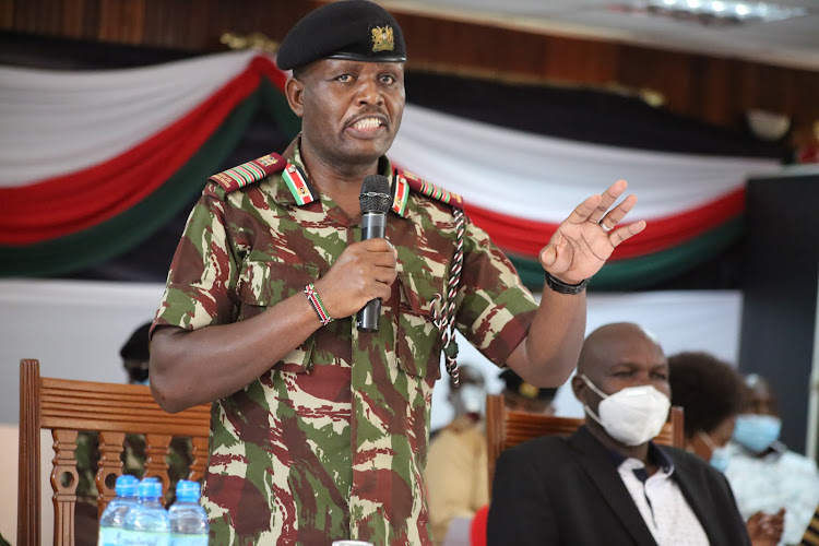 Rift Valley regional commissioner Gorge Natembeya at the peace meeting at the Kenya School of Government in Kabarnet town, Baringo, on Friday.