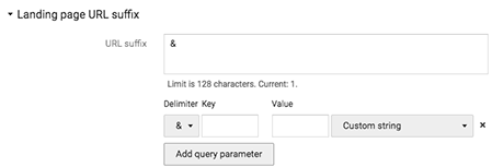 Landing page URL suffix settings in DCM
