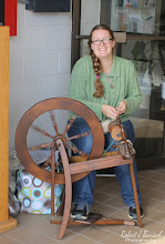 Photo: Julia, of Justifiably Julia, at her spinning wheel at  Delmarva Wool & Fiber Expo 2015 (Fall) | Photograph Copyright Robert J Banach #oceancitycool