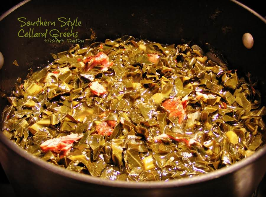 Southern style collard greens recipe just a pinch recipes for M kitchen harbison sc menu