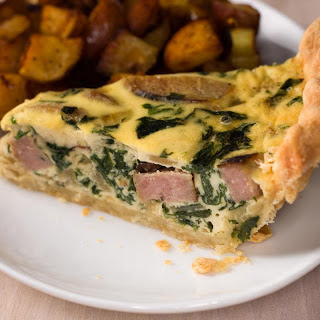 Spinach and Weisswurst Quiche.