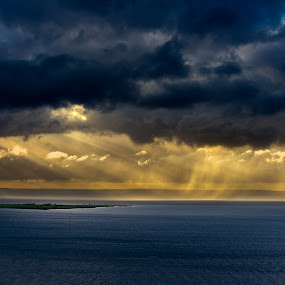 Light and rain by Sergei Pitkevich - Landscapes Waterscapes ( clouds, water, light rays, 70-200, d800, nikon, light, rain, island )