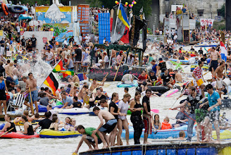 Photo: Here's a #ThirstyThursdayPics photo that's hopefully a little different. This is of the Nabada, a water parade held on the Danube every July in Ulm, Germany. Hundreds of home made rafts make their way through the town while trying to get competing boat crews as wet as possible along the way. Fantastic fun!