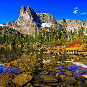 Notchtop Mountain by Brian Kerls - Landscapes Mountains & Hills ( estes park, notchtop mountain, reflection, photograph, lake helene, mountain, fall colors, back packing, peak, rocky mountain national park, landscape, hiking, alpine, mountains, sky, nature, tree, camping, autumn, conservation, autumn colors, pond, clouds, water, colorado, lake, forest, scenic, environmental, national park, colorado photograph, morning light, blue, outdoors, fall, landscape photography, trees, summit, rmnp, landscapes, natural, evergreen, outside, hike, peaks )