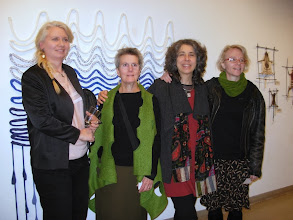 Photo: The artists at the opening. Left to right - me, Nancy Crasco, Adrienne Sloane, Nathalie Miebach, we were only missing Beatrice Coron. Photo credit: Ruth Marshall