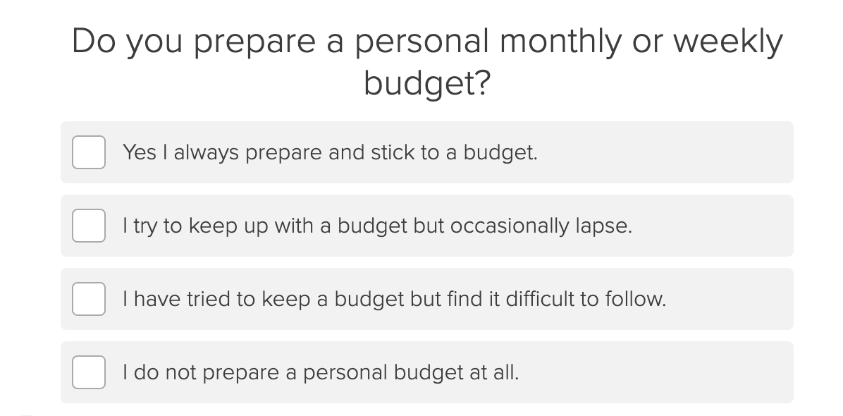 Do you prepare a monthly or weekly budget quiz question