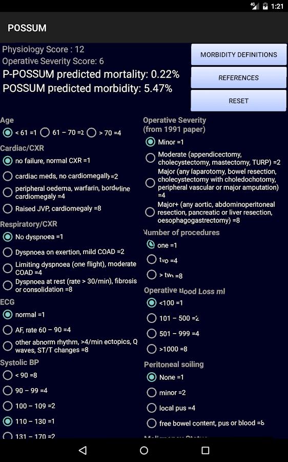O Possum Score P-POSSUM - Android App...