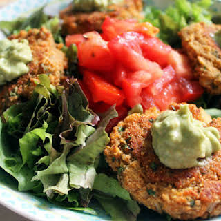Red Lentil and Amaranth Protein Patties With Spicy Avocado Mayo [Vegan, Gluten-Free].