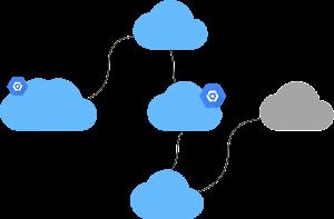 Logotipo de Crie um ambiente híbrido e de várias nuvens