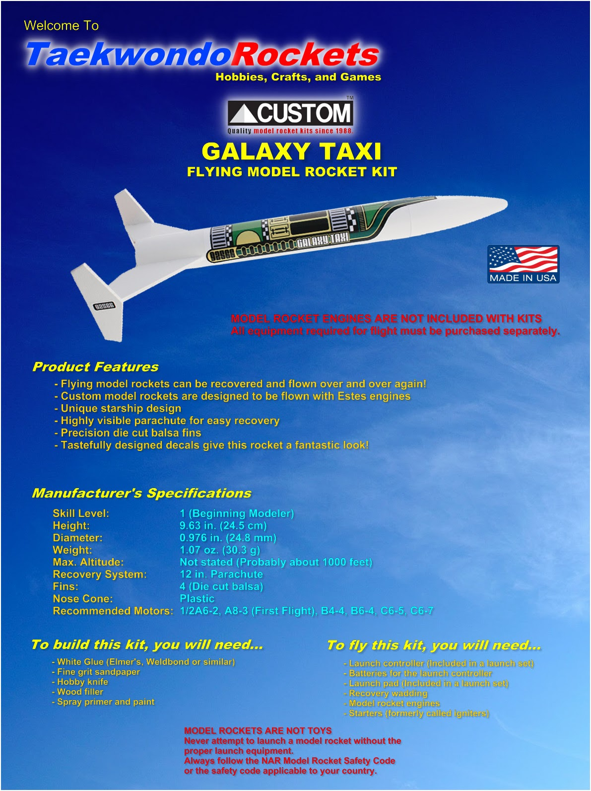 Custom Flying Model Rocket Kit Galaxy Taxi 10049